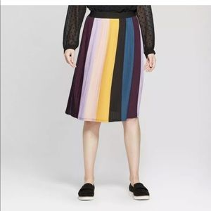 A New Day Colorblock Pleated Wide Stripe Skirt